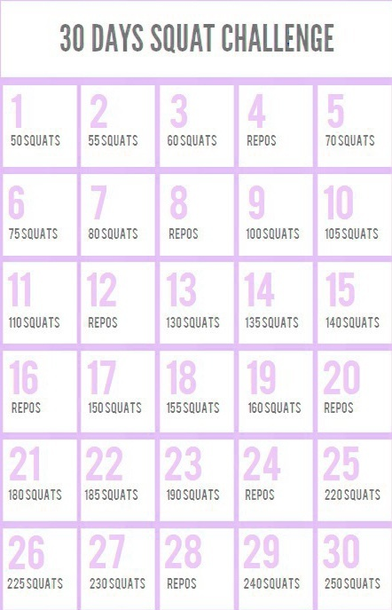 calendrier 30 days squat challenge