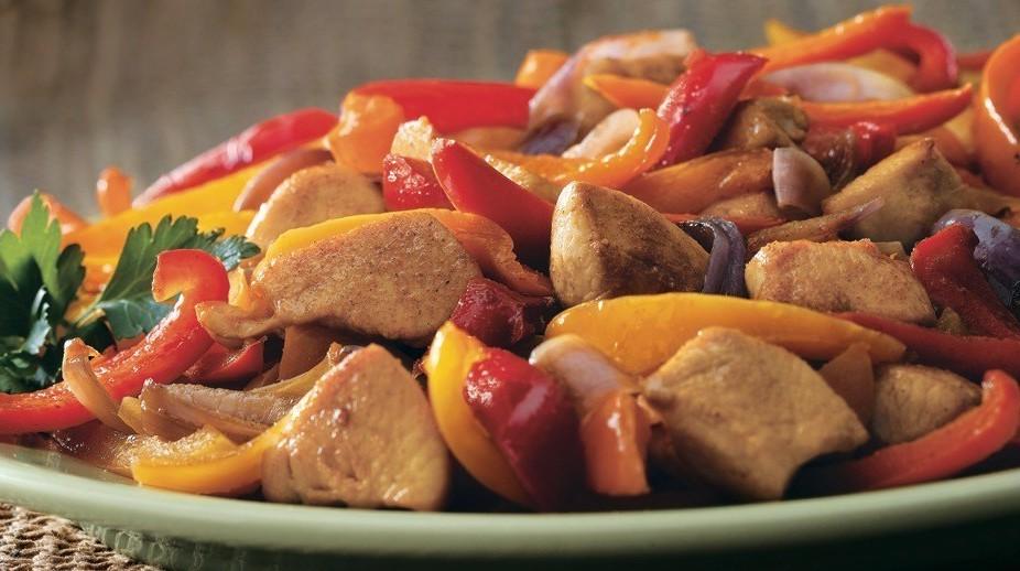 recette rapide et protéiné poulet poivrons
