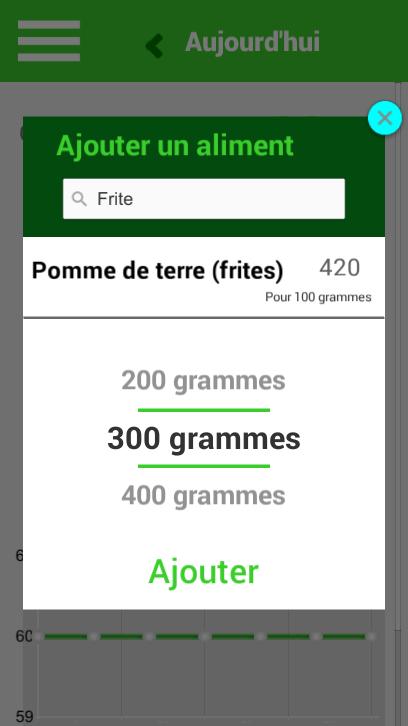 screenshot aliments données compteur de calories fitness +
