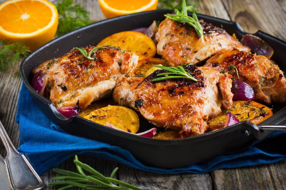 plat de canard à l'orange et au poulet