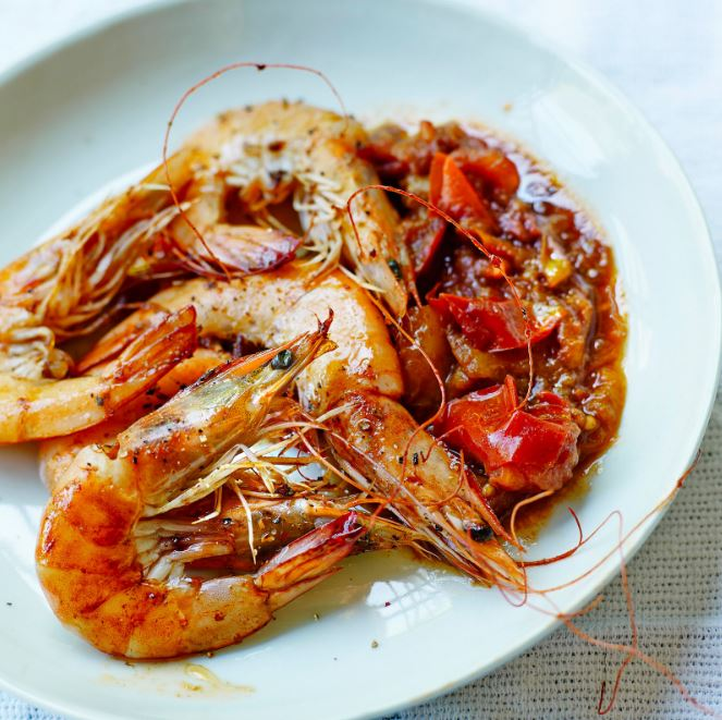 recette de tomates et crevettes