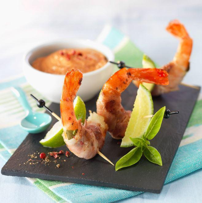 assortiment de crevettes et huitres