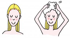 lavage de cheveux en lavant