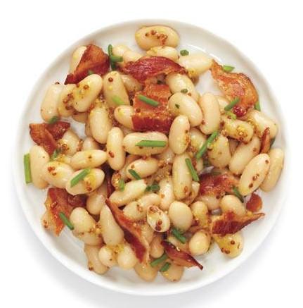 recette rapide et protéiné salade haricots et lard