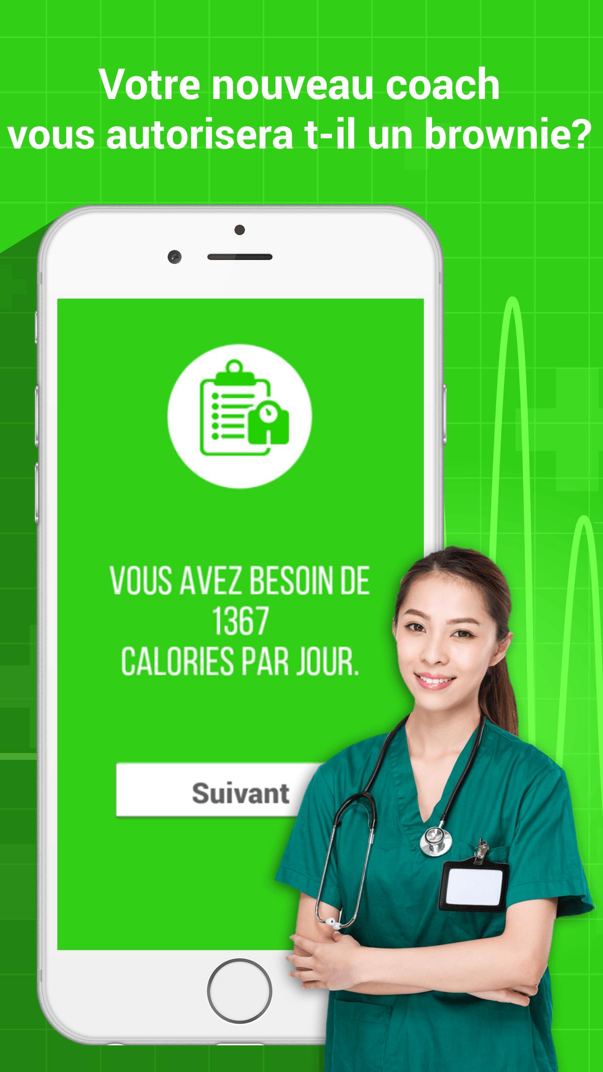 screenshot données compteur de calories fitness +