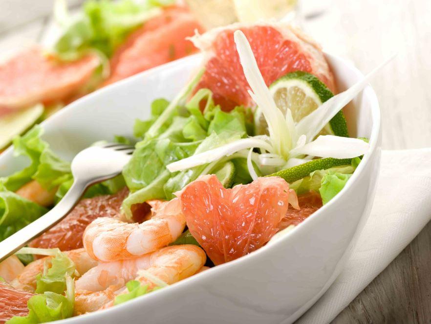 recette de salade aux crevettes et pamplemousse